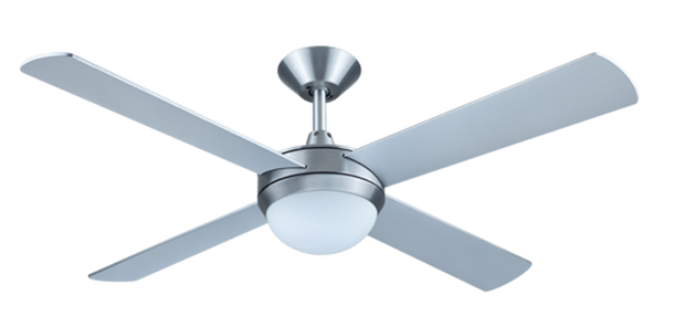 Intercept 52 Ceiling Fan Brushed Aluminium - 2 x E27 Light - Lighting Superstore