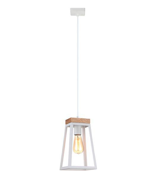 Lanterna Square Pendant Light Timber and White - Lighting Superstore