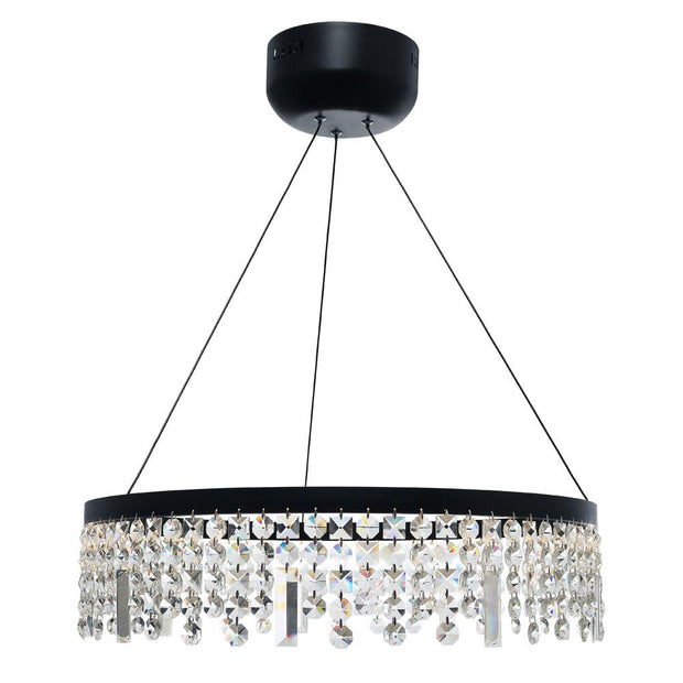 Majestic Crystal LED Black Pendant - Large