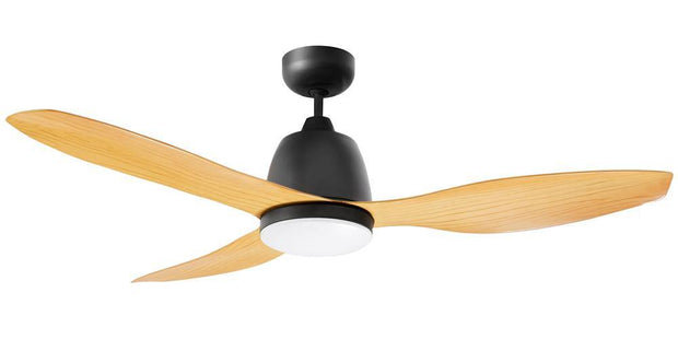Elite 48 Ceiling Fan Black and Bamboo - 20w LED Light