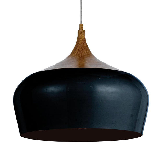 Polk Pendant Light Black and Timber Large - Lighting Superstore