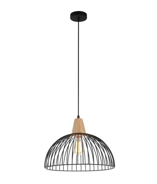 Strand Wire and Wood Pendant Light Black