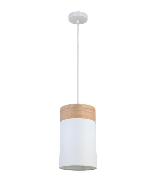 Tambura Small Oblong White Cloth Shade Pendant with Wood Trim