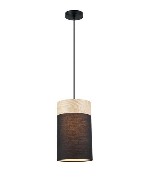 Tambura Small Oblong Black Cloth Shade Pendant with Wood Trim