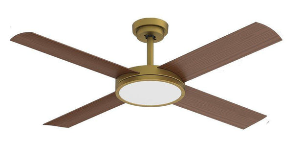 Revolution 3 52 Ceiling Fan Antique Brass and Koa - 24w LED Light