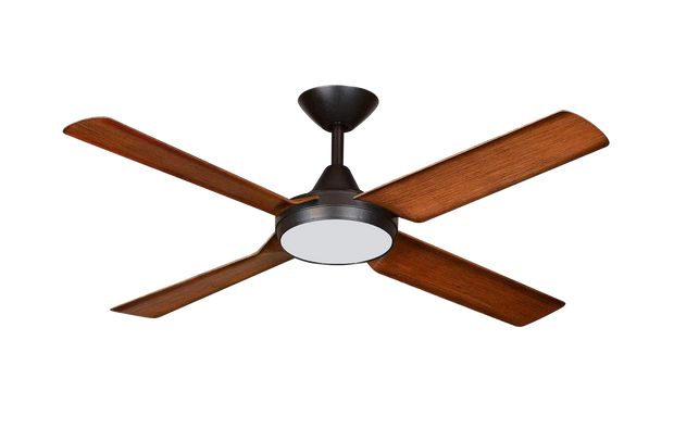New Image 52 DC Ceiling Fan Black and Koa - 18w LED Light
