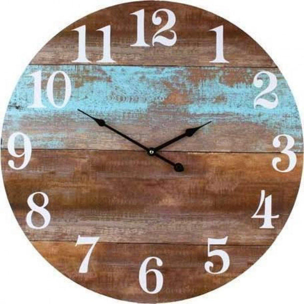 Teal and Timber Board Clock Large - Lighting Superstore