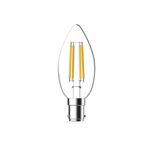 4.8w Small Bayonet (SBC) LED Warm White Dimmable Filament Candle - Lighting Superstore