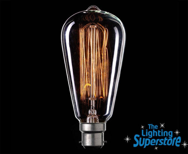 25w Bayonet (BC) Pear Carbon Filament Globe - Lighting Superstore