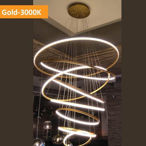Crown LED 8 Ring Pendant Light Gold - Warm White