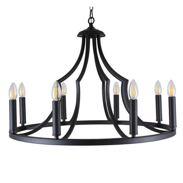 Throne 8 Light Pendant Black - Lighting Superstore