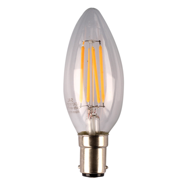 4w Dimmable Small Bayonet (SBC) LED Warm White Candle Filament LED - Lighting Superstore
