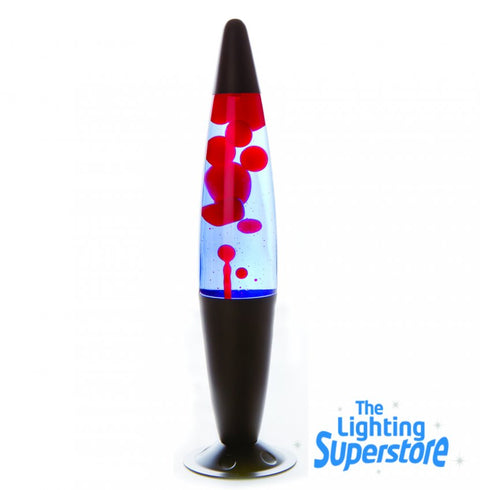 Black Peace style lava lamp with red wax and blue colour from The Lighting Superstore.