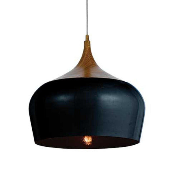 Polk Pendant Light Black and Timber Medium - Lighting Superstore