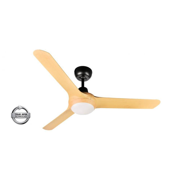 Spyda 50 Ceiling Fan Black and Bamboo - 20w LED Light