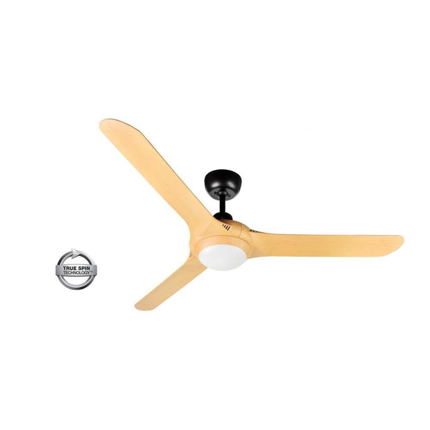 Spyda 56 Ceiling Fan Black and Bamboo - 20w LED Light