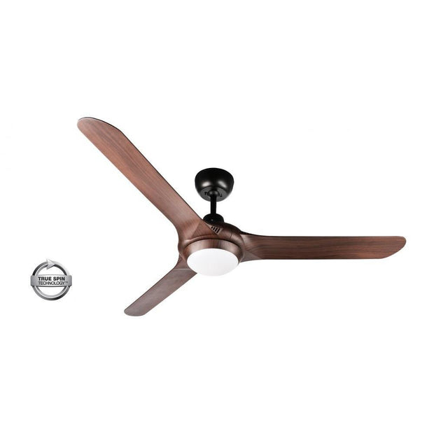 Spyda 56 Ceiling Fan Black and Walnut - 20w LED Light