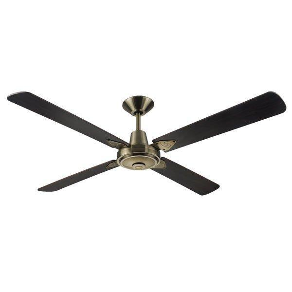 Typhoon 52 Ceiling Fan Antique Brass and Walnut