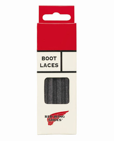 97155 Black Flat Waxed Laces 48 Inch-122cm