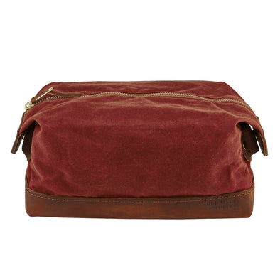 95149 Travelers Dopp Kit Copper Rough & Tough Leather/Burgundy Waxed Canvas