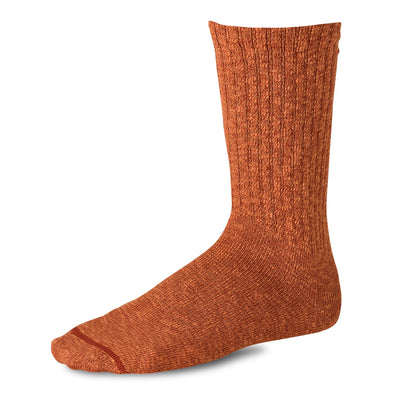 97371 Over Dyed Cotton Ragg Crew Sock Rust/Orange