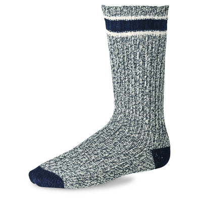 97330 Striped Wool Ragg Crew Slate/Navy