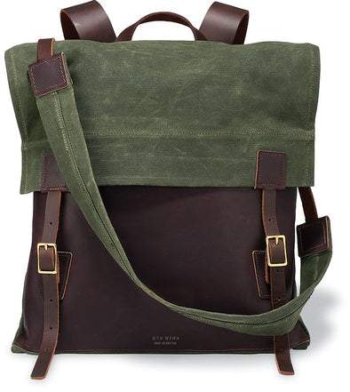 95067 Weekender Backpack Briar Oil Slick Leather/Olive Waxed Canvas