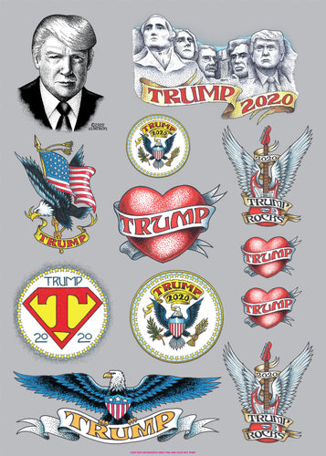 Trump Assorted Temporary Tattoo Sheet