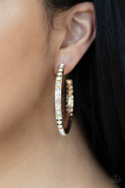 Global Gleam - Gold Rhinestone Hoop Earrings