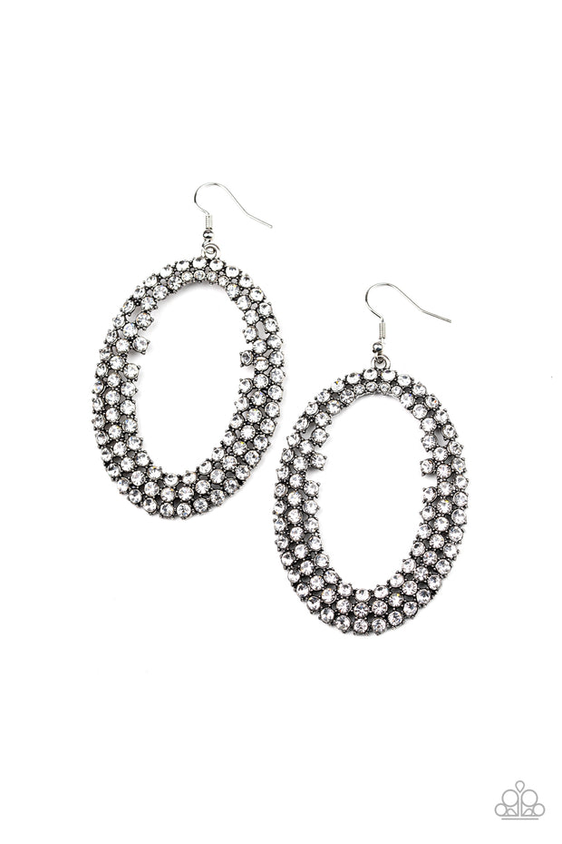 Over sized hoops encrusted rhinestone earrings