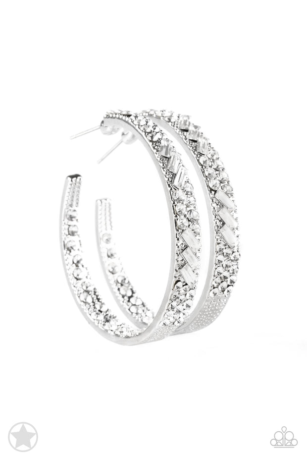 GLITZY By Association White Rhinestone Hoop