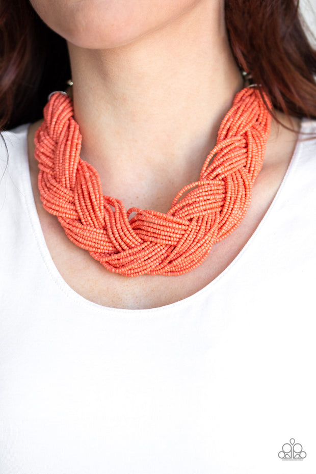 Chunky braided orange seed bead necklacce
