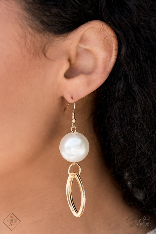 Big Spender Shimmer - Gold Pearl Earrings