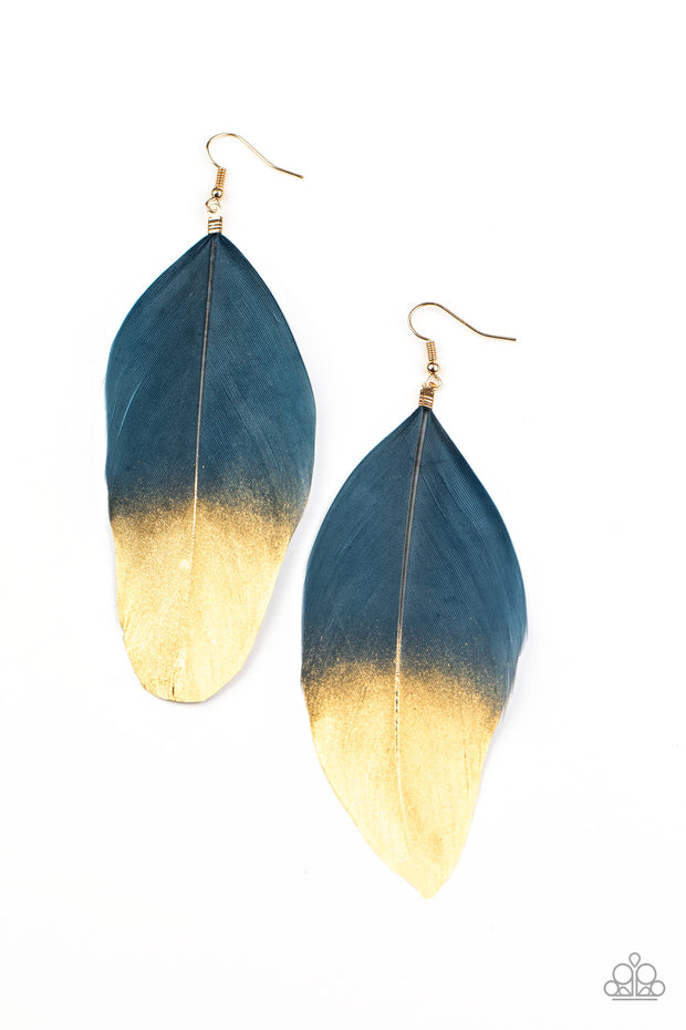 Fleek Feathers - Blue and Gold Earrings