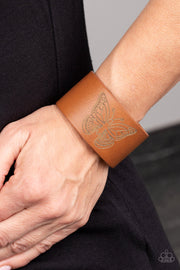 Flirty Flutter - Brown Leather Bracelet
