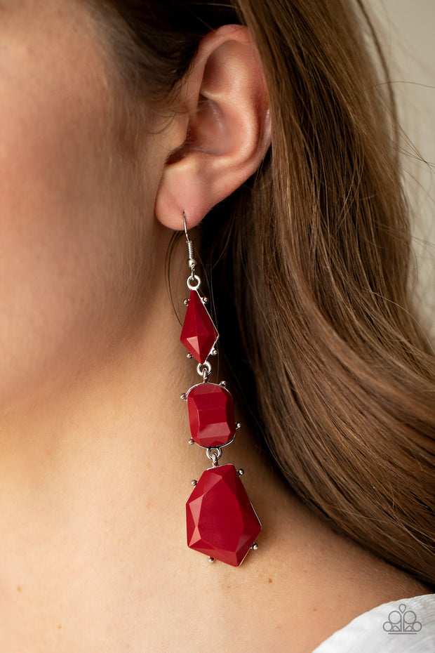 Geo Getaway - Red Chandelier Earrings Paparazzi
