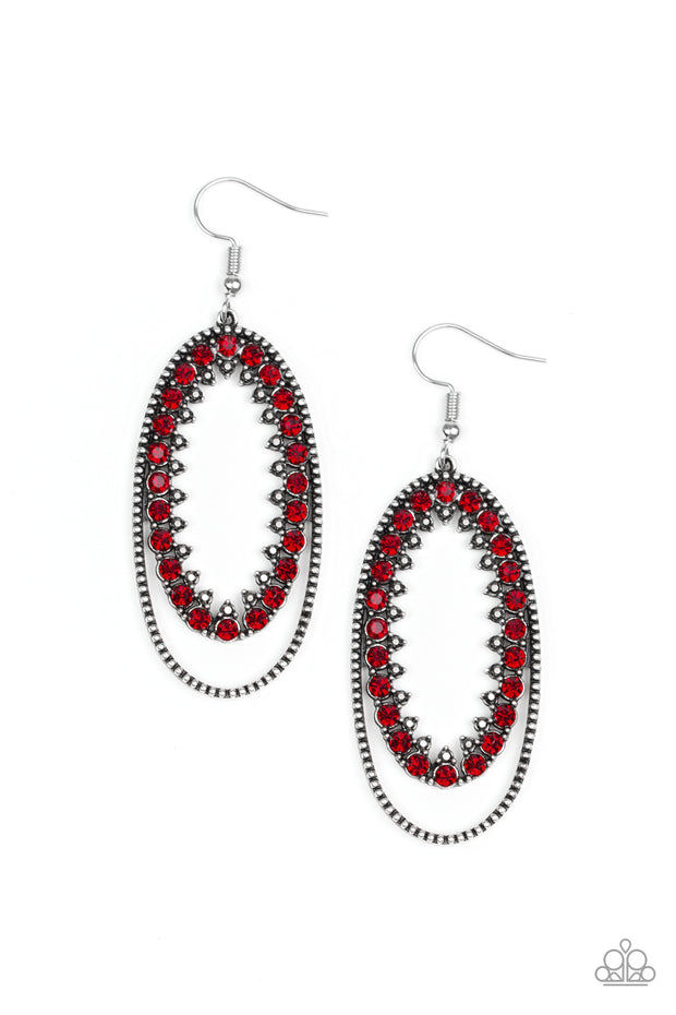 Marry Into Money - Red Rhinestone Earrings