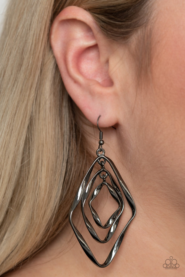 Retro Resplendence - Black Gunmetal Earrings
