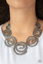 Statement Swirl - Black Gunmetal Necklace