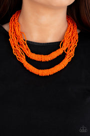 Right As RAINFOREST - Orange Seed Bead Necklace