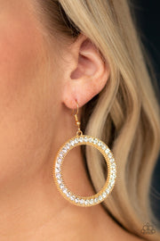 Haute Halo - Gold Rhinestone Earrings