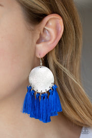 Tassel Tribute Blue Fringe Earrings