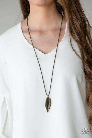 Paparazzi Feather Forager - Brass - Feather Pendant