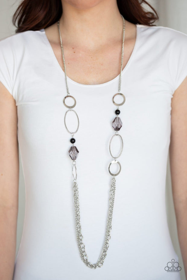 Jewel Jubilee - Black Beads - Silver Hoops Chains Necklace