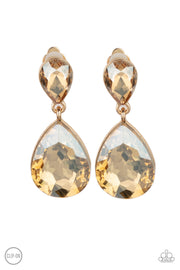 Aim For The MEGASTARS - Gold Rhinestone Earrings