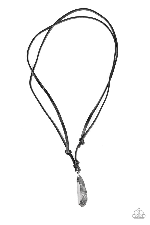 Am I METEORITE? - Silver Hematite Pendant Necklace on Leather Cord