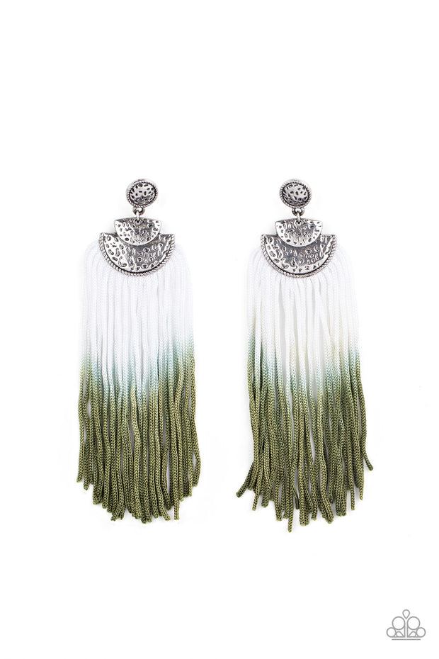 DIP It Up - Green Tassel Earrings