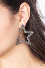 Star Player - Silver Rhinestone Earrings Paparazzi