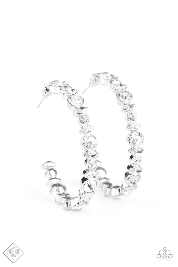 Can I Have Your Attention? - Rhinestone Hoop Earrings