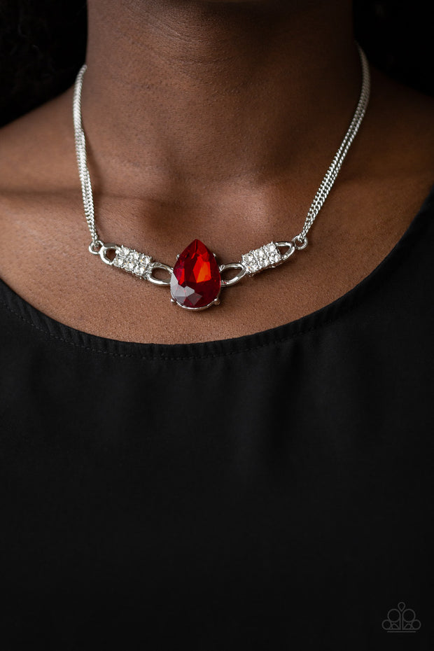 Way To Make An Entrance - Red Rhinestone Necklace